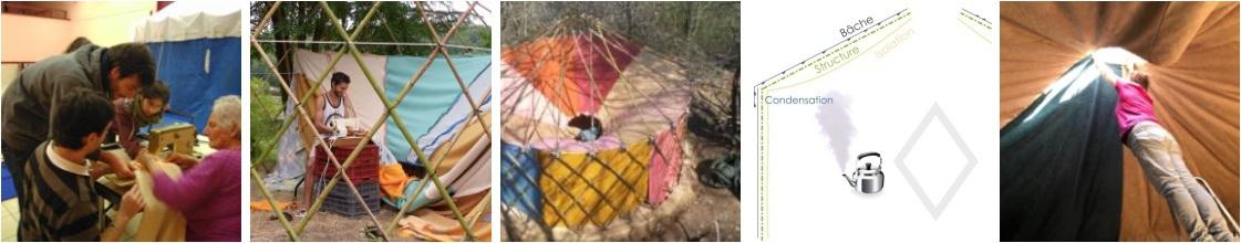 réalisation isolation de yourte avec couvertures en laine