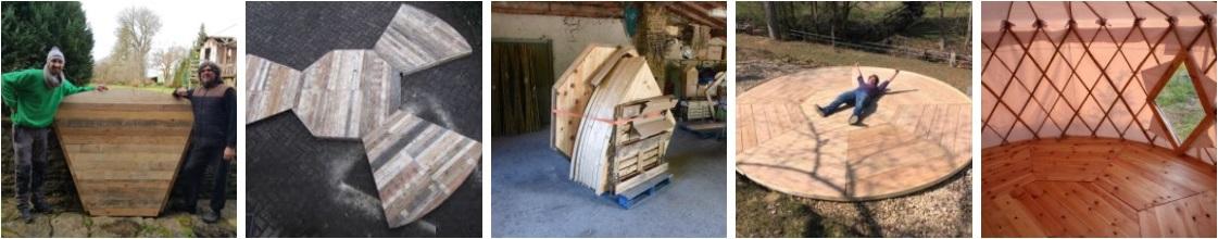 Réalisation plancher de yourte démontable en 9 éléments